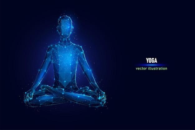 L'essere umano si siede nella posa di yoga, wireframe digitale di posa del loto fatto di punti collegati.
