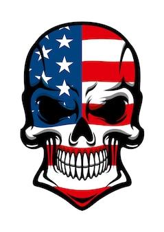 Tatuaggio teschio umano con bandiera americana, isolato su bianco, per t-shirt o mascotte