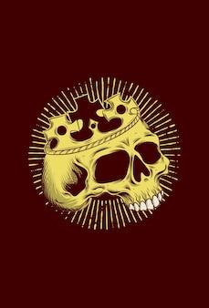 Teschio umano con illustrazione vettoriale corona