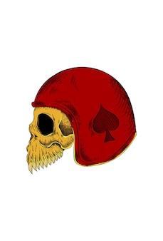 Teschio umano con illustrazione vettoriale di casco