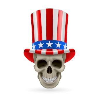 Cranio umano con cappello di zio sam