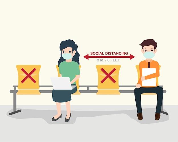 Distanziamento sociale umano come proteggersi dal covid-19. come autoisolamento per limitare la diffusione del coronavirus. assistenza sanitaria e medica sulla prevenzione delle infezioni. illustrazione di vettore.