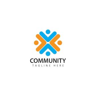 Sociale umano, unità, insieme, connessione, relazione, vettore di progettazione del modello di logo della comunità