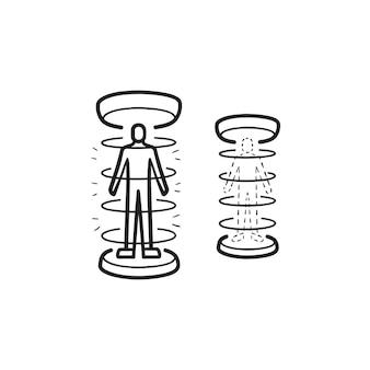 Icona di doodle di contorni disegnati a mano di teletrasporto umano. tecnologia del futuro, concetto di ricerca sul teletrasporto umano