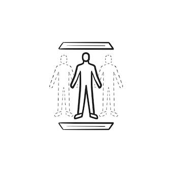 Icona di doodle di contorni disegnati a mano tecnologia di teletrasporto umano. scienza sovrumana, concetto di tecnologia futura. illustrazione di schizzo vettoriale per stampa, web, mobile e infografica su sfondo bianco.