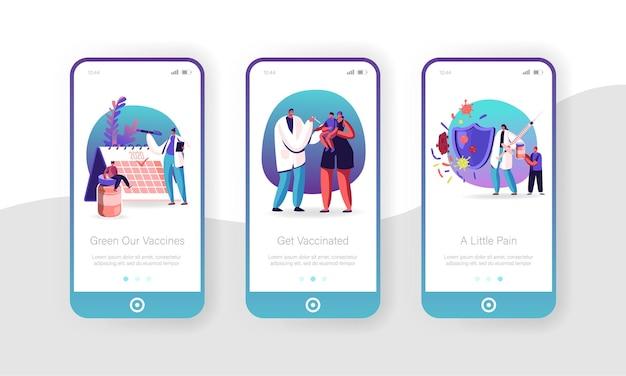 Set schermo a bordo pagina di app mobile per vaccinazione umana.