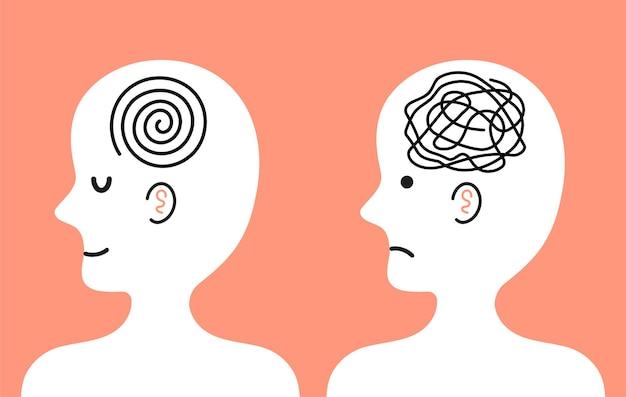 Umano con groviglio di pensieri disordinati e mente lucida nella testa. cattivo e buon umore, depressione, concetto di carattere di salute mentale