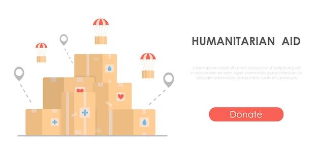 Aiuti umanitari - concetto di beneficenza con scatole di cartone concetto per la giornata umanitaria mondiale