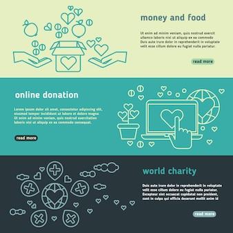 Set di banner di vettore umanitario