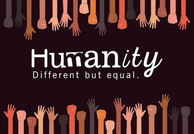 L'umanità è diversa ma uguale e la diversità alza la mano il design, la razza multietnica delle persone e il tema della comunità
