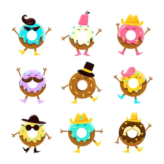 Personaggi dei cartoni animati umanizzati del dessert con le armi e le gambe con l'insieme di caratteristiche facciali differenti