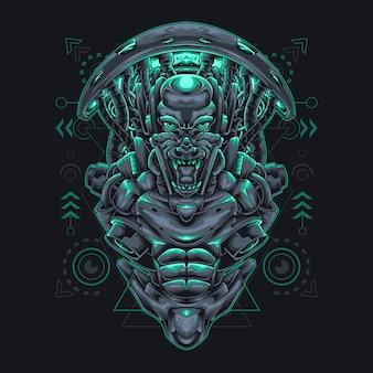 Cyberpunk mostro umanoide