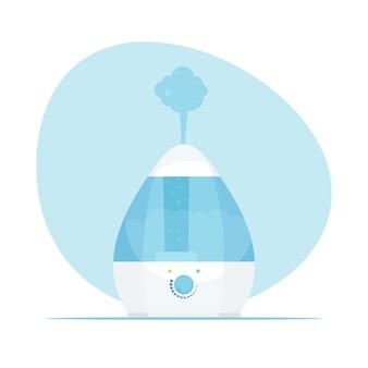 Umidificatore d'aria. umidificatore domestico moderno. microclima purificatore. illustrazione in stile piatto.