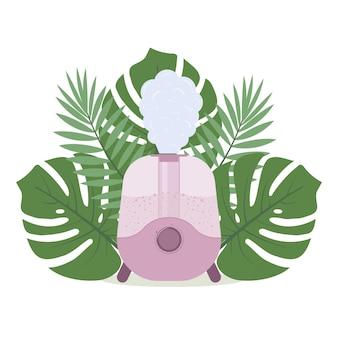 Umidificatore sullo sfondo delle foglie tropicali, illustrazione vettoriale isolata a colori.