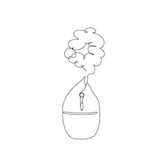Disegno a linea continua dell'umidificatore un'arte al tratto del clima di umidificazione nell'appartamento