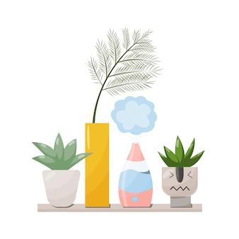 Umidificatore e impianti attrezzature per la casa o l'ufficio. purificatore d'aria nell'illustrazione interna con pianta della casa. ideazione di pulizia dell'aria e umidificazione per la casa.