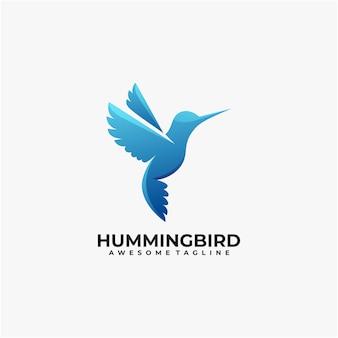 Modello di progettazione di logo astratto di colibrì