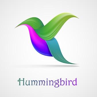 Simbolo astratto del colibrì. illustrazione isolato su sfondo.