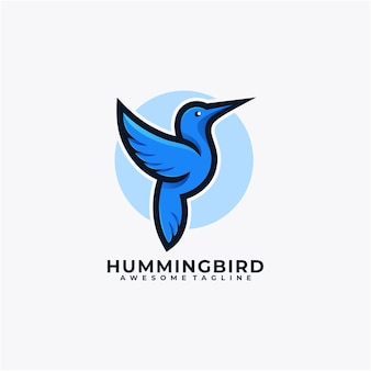 Colore piatto di vettore di progettazione di logo del fumetto del colibrì