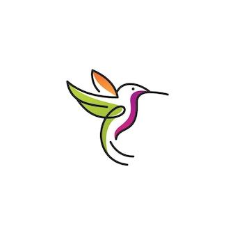 Logo di arte linea colibrì