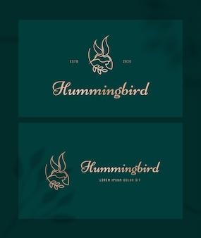 Logo di lusso di arte linea colibrì