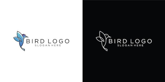 Logo del colibrì, logotipo di arte della linea animale