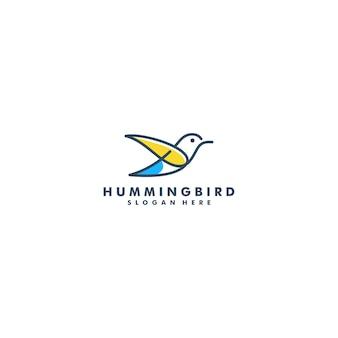Disegno di marchio del colibrì, logotipo di vettore di arte di linea di volo animale