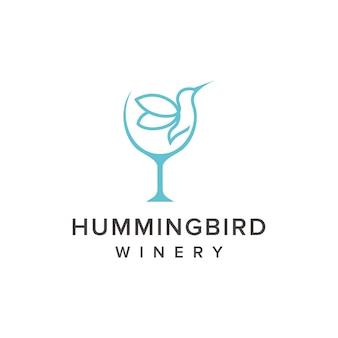 Colibrì e bicchiere di vino delineano un design semplice ed elegante del logo geometrico creativo moderno