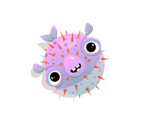 Umorismo puffer o pesce soffiato personaggio divertente infantile di oceano appuntito o pesce di mare.