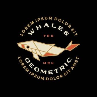 Illustrazione geometrica dell'icona di vettore del logo della maglietta del merch della maglietta del distintivo della megattera