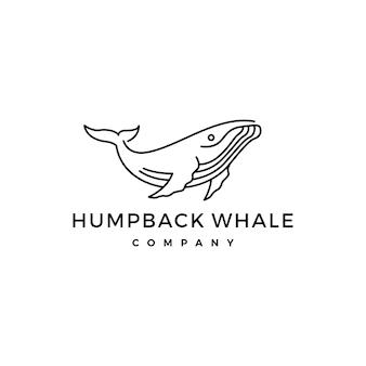 Illustrazione di vettore dell'icona di logo della balena di humpback