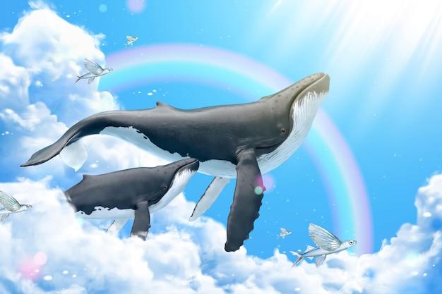 Megattere che nuotano tra le nuvole con pesci volanti, illustrazione 3d