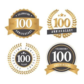Pacchetto di badge per cento anni anniversario