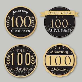 Set di etichette anniversario di cento anni