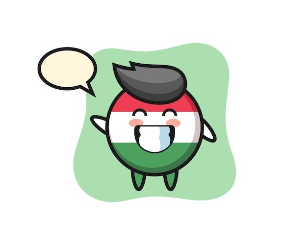 Personaggio dei cartoni animati del distintivo della bandiera dell'ungheria che fa il gesto della mano dell'onda, design in stile carino per maglietta, adesivo, elemento logo