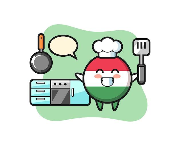 Illustrazione del personaggio del distintivo della bandiera dell'ungheria mentre uno chef cucina, design in stile carino per maglietta, adesivo, elemento logo