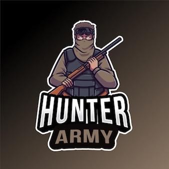 Modello di logo dell'esercito del cacciatore