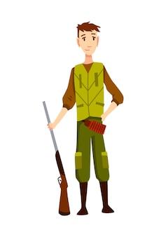 Carattere del cacciatore con il fucile. uomo con una pistola in mimetica in stile cartone animato. umano con armi a caccia.