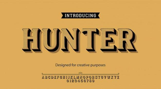 Carattere tipografico hunter. per etichette e disegni di tipi diversi