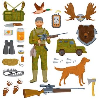 Cacciatore con attrezzature e animali