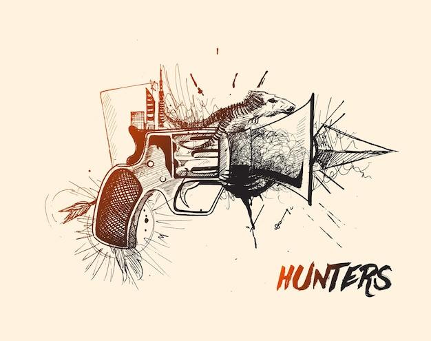 Cacciatori concettuale pistola pistole schizzo disegnato a mano illustrazione vettoriale