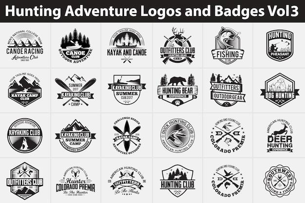 Loghi e distintivi di avventura di caccia