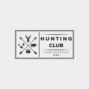 Disegno dell'illustrazione di vettore del logo dell'anatra dell'orso dei cervi di caccia