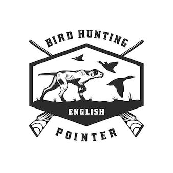 Distintivo dell'emblema del cane da caccia inglese pointer bird dog