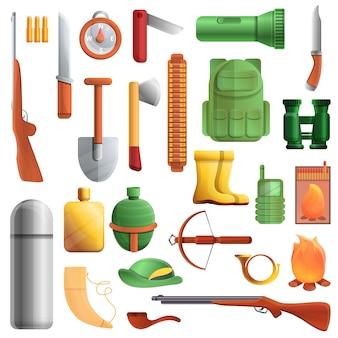 Set di attrezzature da caccia, in stile cartone animato