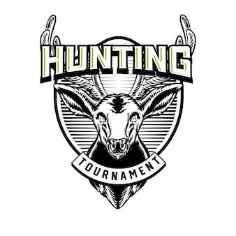 Emblema del distintivo di vettore logo caccia con cervo