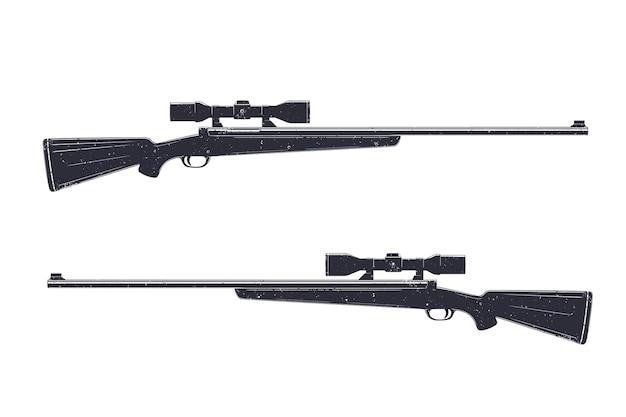 Fucile da caccia con mirino ottico, fucile da cecchino isolato su bianco, illustrazione vettoriale