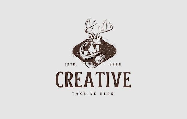 Design del logo della stagione di caccia illustrazione vettoriale di cervi e pesci da caccia