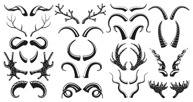 Caccia animali selvatici, cervi, sagome di corna di capra. insieme dell'illustrazione di vettore della siluetta nera delle corna di bisonte, alce, cervo, montone, capra. trofeo con corna di ungulati