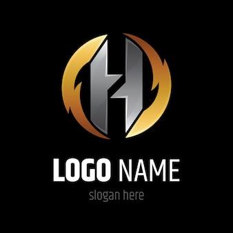 Modello di logo di lettera h di uragano